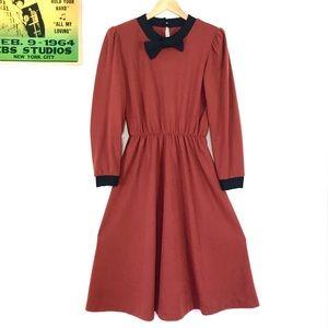 Vintage 1980s colorblock rust midi dress 40s style
